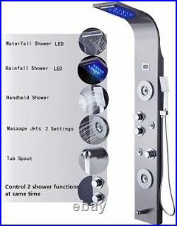 Stainless Shower Panel Tower System LED Rain&Waterfall Head Faucet Massage Jets