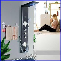 Stainless Steel Black Shower Panel Column Tower LED Massage Body Jets Mixer tap