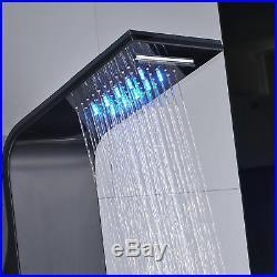 Stainless Steel Brushed Black LED Shower Panel Column Message System Body Jets