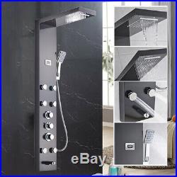 Stainless Steel Digital Screen Rain Shower Panel Column Massage Sprayer Faucet