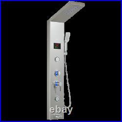 Stainless Steel LED Light Rainfall Shower Panel Tower System Bathroom For Home