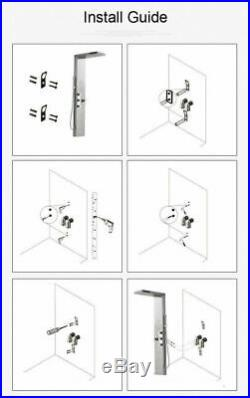 Stainless Steel LED Rainfall Shower Panel Tower Faucet Massage Body Jet System