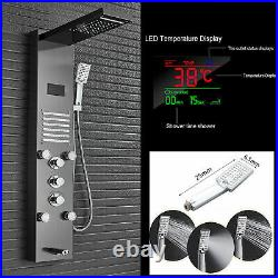 Stainless Steel LED Shower Panel Column 5-way Rain Waterfall Massage SPA Jets