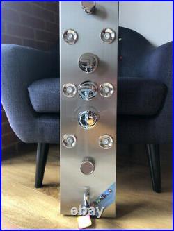 Stainless Steel LED Shower Panel Column Rain Waterfall Shower Head WithMassage Jet