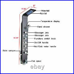 Stainless Steel LED Shower Panel Rain&Waterfall Tower Massage System Tub WithSpray