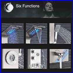 Stainless Steel LED Shower Panel Tower Brushed Nickel Body Massage Hand Sprayer