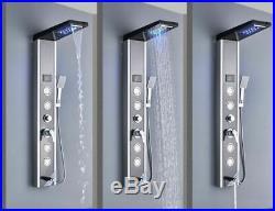 Stainless Steel LED Shower Panel Tower Rain&Waterfall Massage System Jet Sprayer