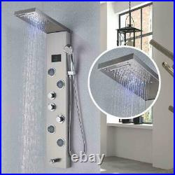 Stainless Steel LED Shower Panel Tower System Rain&Waterfall Massage Body Jets