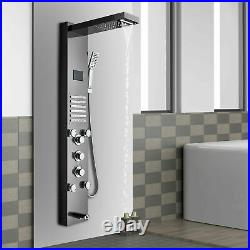 Stainless Steel Shower Panel Tower Faucet LED Rainfall Massage System Jet Set