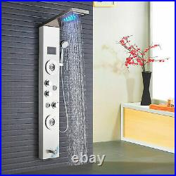 Stainless Steel Shower Panel Tower LED Rain Waterfall Massage Body System Spray