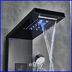 Stainless Steel Shower Panel Tower LED Rain Waterfall Massage System Body Jet