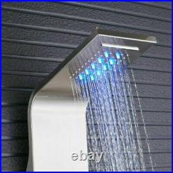 Stainless Steel Shower Panel Tower LED Rain Waterfall WithMassage Body Jet System