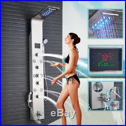 Stainless Steel Shower Panel Tower LED Rain Waterfall WithMassage Bodys System Jet