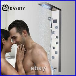 Stainless Steel Shower Panel Tower LED Rainfall Massage System with Body Jets