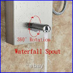 Stainless Steel Shower Panel Tower LED Rainfall Waterfall Massage Jets Mixer Tap