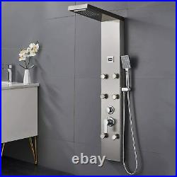 Stainless Steel Shower Panel Tower Rain&Waterfall Head Massage Body Spray System