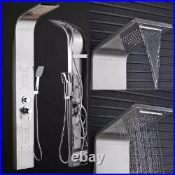 Stainless Steel Shower Panel Tower Rain Waterfall Shower Faucet Massage Body Jet