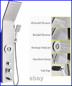 Stainless Steel Shower Panel Tower Rainfall&Waterfall Massage Body System Jets