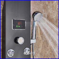 Stainless Steel Shower Panel Tower Set Massage Jets Hand Shower Kitchen Sink Tap