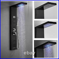 Stainless Steel Shower Panel Tower System, LED Rainfall Waterfall Shower Head +