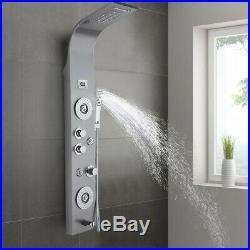 Stainless Steel Shower Panel Tower System LED Rainfall Waterfall Shower Head