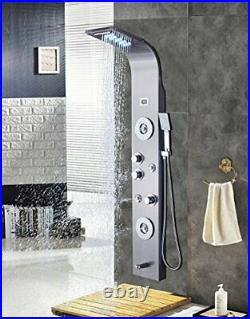 Stainless Steel Shower Panel Tower System, LED Rainfall Waterfall Shower Head 6