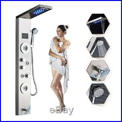 Stainless Steel Shower Panel Tower System LED Shower Head 5 Modes with Body Jets
