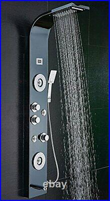 Stainless Steel Shower Panel Tower System, LED Shower Head 6-Function Black