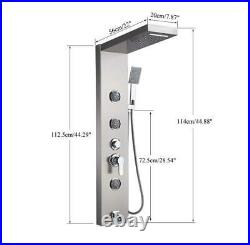 Stainless Steel Shower Panel Tower System Rain&Waterfall Massage Jets Tub Faucet