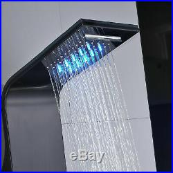 Stainless Steel Shower Panel Tower System Rain Waterfall Message Jets Tub Tap