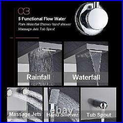 Stainless Steel Thermostaic Shower Panel Tower System Rain&Waterfall Massage Jet