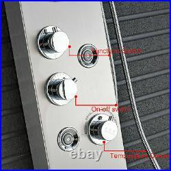 Stainless steel Shower Panel Column Tower LED Rain Massage Body Jets Mixer Taps