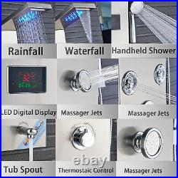 Stainless steel Shower Panel Tower LED Rain& Waterfall Massage System Jets Taps