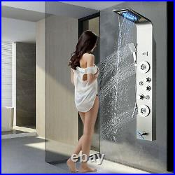 Stainless steel Shower Panel Tower System LED Rain Shower Head Massage Faucet