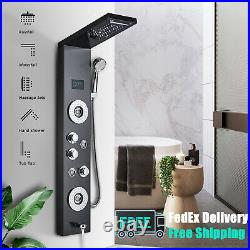 Stainless steel Shower panel LED Tower Shower Faucet with Massage Jets Mixer Tap