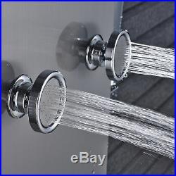 Temperature Display Brushed Nickel Shower Panel Column Jets Hand Sprayer Tub