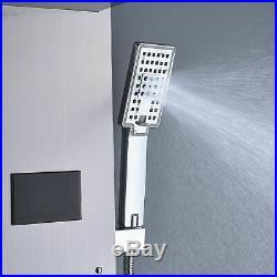 Temperature Display LED Shower Panel Column Jets Sprayer Brushed Nickel Tap
