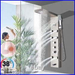 Thermostaic Shower Panel Tower Rain&Waterfall Massage Body System Brushed Nickel