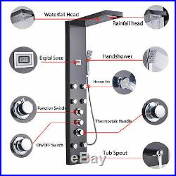 Thermostaic Shower Panel Tower Rainfall Waterfall Massage System Jet Tub Tap