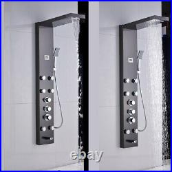 Thermostaic Shower Panel Tower System Rain&Waterfall Massager Body Jet Tap Black