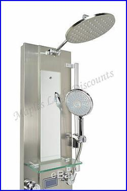 Thermostatic Rainfall Style Body Jets Stainless Steel Shower Tower Panel Spout