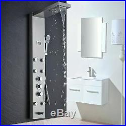 Thermostatic Shower Panel Column Brushed Nickel Rain&Waterfall Shower Faucet Set
