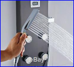 Thermostatic Shower Panel Column Rainfall & Waterfall Shower Head Massage Jet UK
