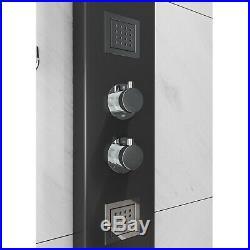 Thermostatic Shower Panel Column Tower Drencher Head Handset 3 Body Jets Black
