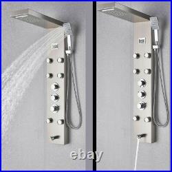 Thermostatic Shower Panel Syatem Stainless Tower Rain Head Combo Massage Jet Tap