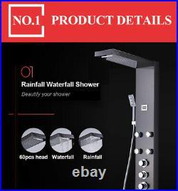 Thermostatic Shower Panel Tower Faucet Black Rain Head Spray System Massage Jet