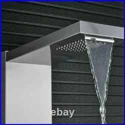 Thermostatic Shower Panel Tower Rain Shower Massage System Jets Brushed Nickel