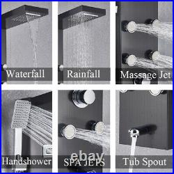 Thermostatic Shower Panel Tower Rain&Waterfall Massage Body Jet System Mixer Tap