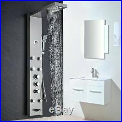 Thermostatic Shower Panel Tower Stainless Steel Rain&Waterfall Shower Faucet Set
