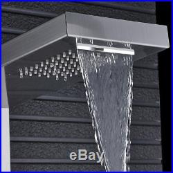 Thermostatic Stainless Steel Rain Waterfall Shower Panel Tower Rain Massage Jets